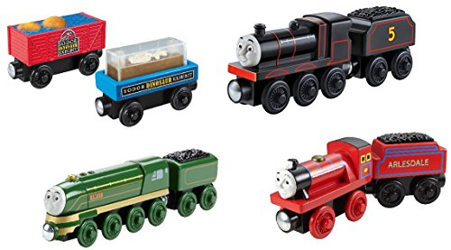 amlined Emily, Mike, Dino Fossil Cars 4pk!! - Thomas Wooden Railway Tank Train Engine (Jet Engine Fuel)