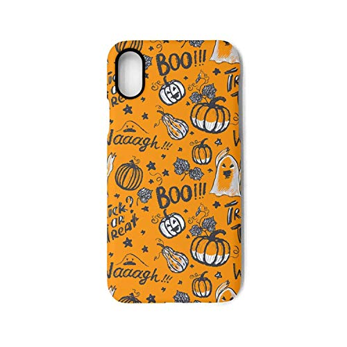 Srel rtrterwe Phone case for iPhone X Orange Halloween Holiday Bumper Matte TPU Protective Back Mobile Cover Cell Phone Holder ()