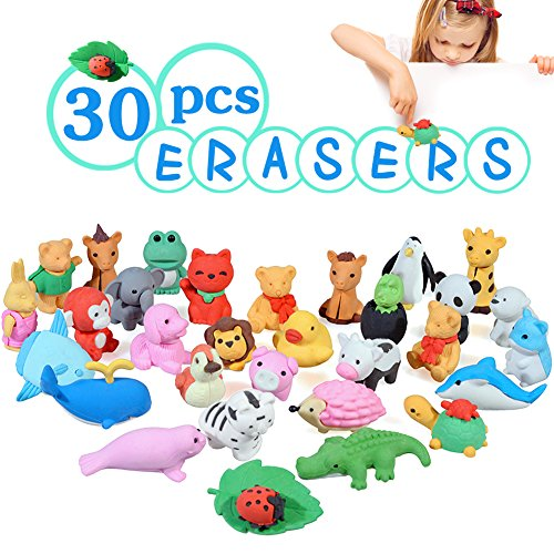 Acekid Animal Erasers for Kids, 30pcs Japanese Pencil Erasers Set, Cute Mini Puzzle Eraser Toys for Novelty Party and School Supplies -