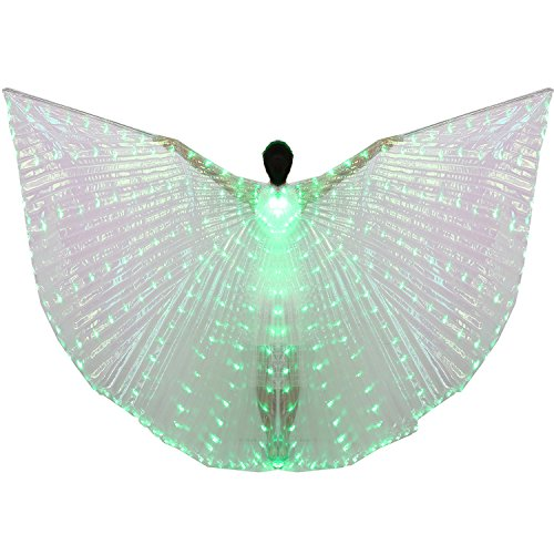 Bollywood Fancy Dress Outfits (Dance Fairy Belly Dance LED Angel Isis Wings with Telescopic Sticks(Green))