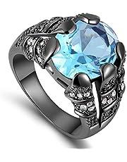 للرجال خاتم مطلي بالروديوم الأسود- حجر كريم ياقوت ازرق مقاس US 10