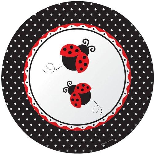 8-Count Large Round Paper Banquet Plates, Ladybug Fancy