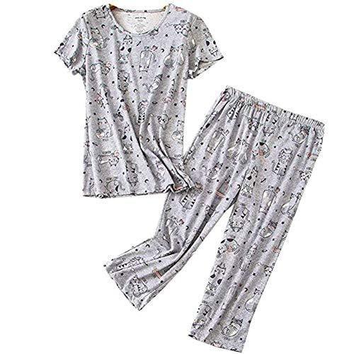- Women's Pajama Sets Capri Pants with Short Tops Cotton Sleepwear Ladies Sleep Sets(Cat,XXL)
