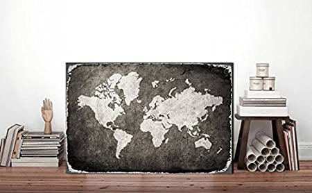 Cartel de Metal Gris Mapa del Mundo, Mapa del Mundo, Mapa ...
