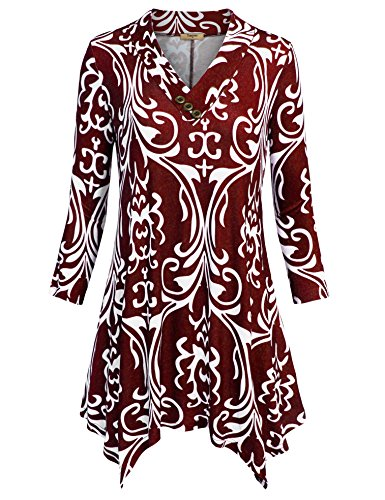 Timeson Women Tunics Blouse, Lady Vintage Floral Print 3/4 Sleeve Irregular Hem Asymmetrical Tunic Loose Long Blouse Tops(Multicolor Red,Large)