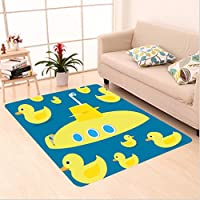 Nalahome Custom carpet uck Duckies Swimming in the Sea with a Yellow Submarine Kids Party Pattern Nautical Print Yellow area rugs for Living Dining Room Bedroom Hallway Office Carpet (6 X 9)