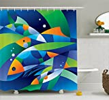 Clear Shower Curtain with Fish Design Ambesonne Farm House Decor Shower Curtain by, Abstract Digital Geometric Pieced Fish with Circle Curves Depths of Ocean Decor, Fabric Bathroom Decor Set with Hooks, 70 Inches, Multi