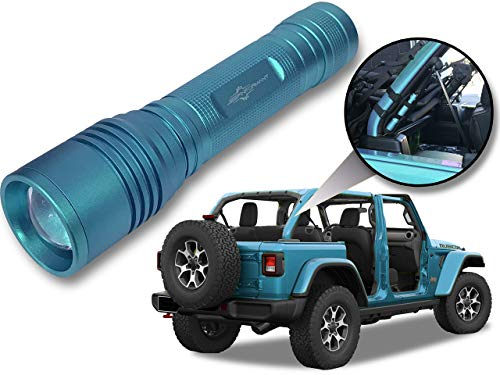 Jeep Wrangler Accessories Bikini Colored LED Flashlight with Roll Bar Holster. Holster fits Jeep Jk rollbar also. Color match is for 2018-2019 Jeep JL Accessories, Ultra Bright, 1000 Lumens, Zoomable. ()