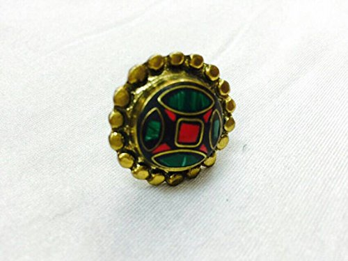 Nepal Natural Malachite, Coral Ring Sizable Gold Plated Boho Ethnic Tribal Gypsy Hippie Bohemian