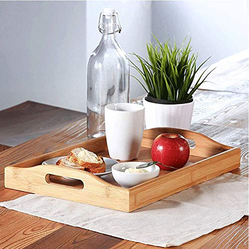 Binlin Bamboo Foldable Breakfast Table, Breakfast Tray Bamboo Bed Tray Table with Foldable Legs Portable Laptop Tray Snack Tray for Food Serving Bed Reading TV Watching (Tv Trays Target Dinner)