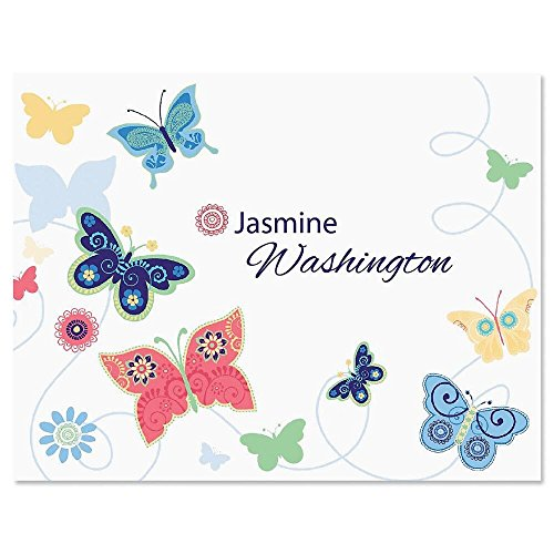 Delicate Butterflies Personalized Note Card Set - 24 cards & envelopes