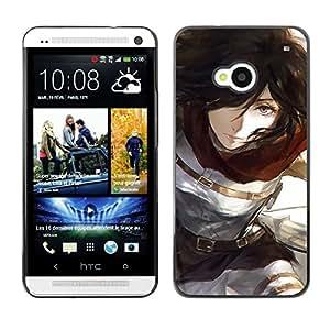 Caucho caso de Shell duro de la cubierta de accesorios de protección BY RAYDREAMMM - HTC One M7 - Brunette Chica