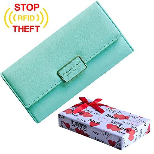 Afine Ladies Wallet for Women Leather Wallets Purse Best Valentines Gifts for Her RFID Blocking Money Organizer Card Case Holder (Mint Green)