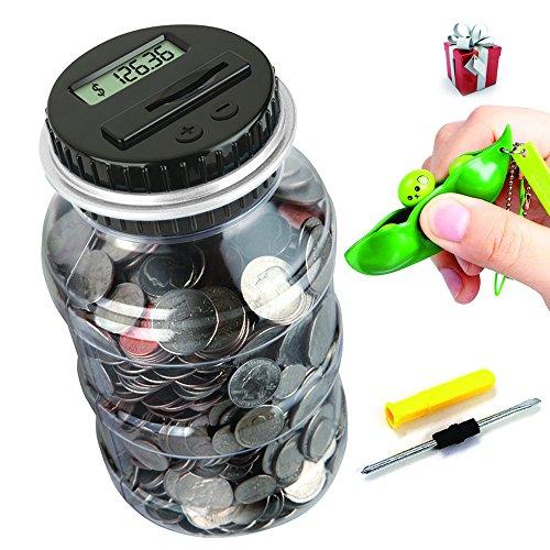 OLICTA Piggy Bank Digital Counting Coin Bank Creative Large Money Saving Box Jar Bank LCD Display Coins Saving Gift (Dollar) ()