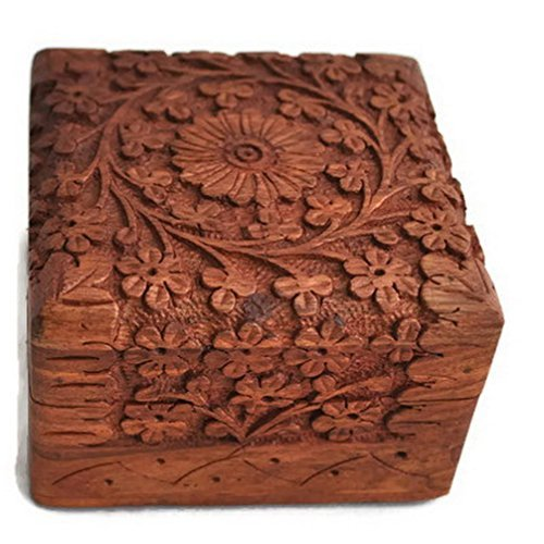 Figo Inc Unique Artisan Traditional Style Hand Carved Rosewood Jewellery Box (Size- 4 Inch)