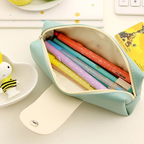 bureze PU Pure Color Einfache Druckknopfverschluss Federmäppchen Aufbewahrungstasche Schreibwaren Taschen groß Kapazität Reißverschluss 130E3Irk