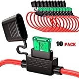 DILISS 10Pack In-line Fuse Holder Car Add-a-circuit Fuse TAP Adapter 14AWG ATC/ATO 30AMP Blade Fuse Automotive Fuse Holder with 10 pcs 30 AMP Fuses