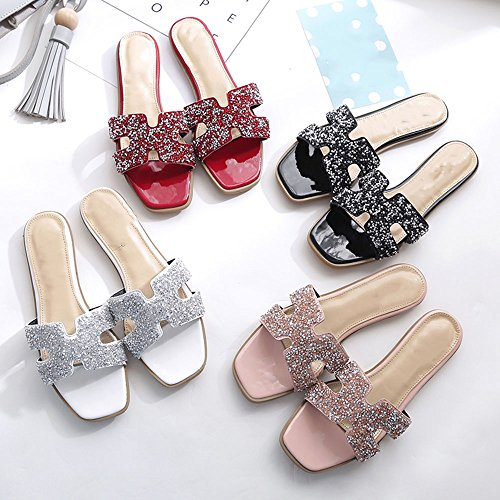 Folding Color Slippers EU35 Women's Slippers Slippers Women Outside Fashion Size Sandals Women's Pink Shoes Slippers Sandals Diamond XIAOLIN UK3 Summer Chairs CN34 Black Fashion Women's Beach HqBOPwWHrz