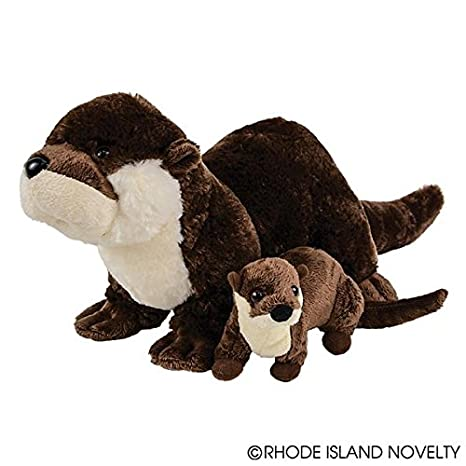 "Birth of Life River Otter with Baby Plush Toy 12.5"" Long Without Tail"