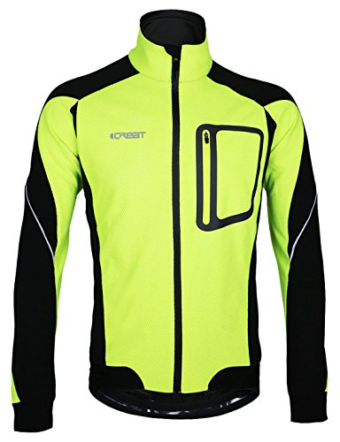 iCreat Herren Jacke Air Jacket Winddichte Wasserdichte Lauf- Fahrradjacke MTB Mountainbike Jacket Visible reflektierend, Fleece Warm Jacket für Herbst, Grün Gr.L