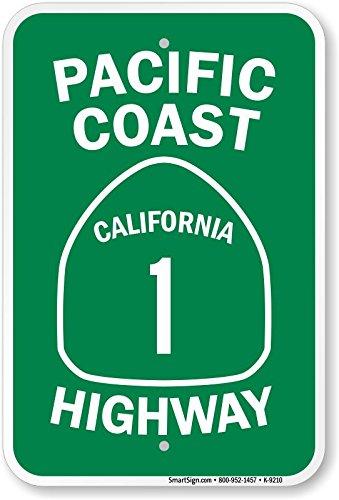 18/x 12 ingeniero grado reflectante Sign de aluminio California 1/Highway Costa del Pac/ífico