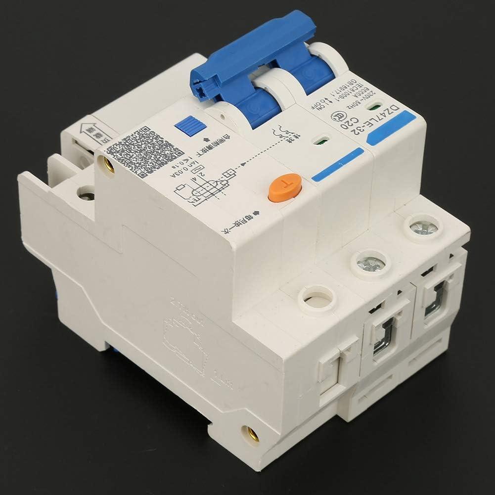 Disjoncteur courant r/ésiduel miniature RCCB DZ47LE-32 2P 2 C20 20A 230V Disjoncteur diff/érentiel r/ésiduel RCCB Disjoncteur miniature 2 C20 20A 230V DZ47LE-32 2P