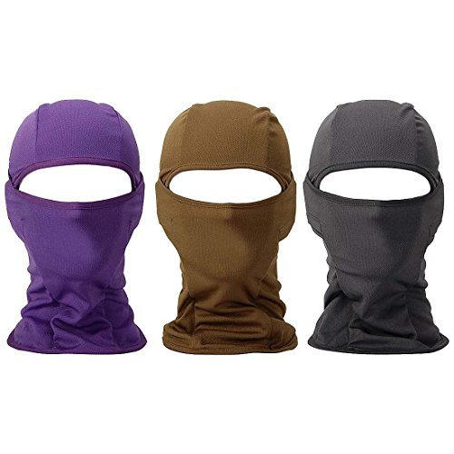 Bundle Monster 3pc Lightweight Breathable Poly Blend Stretchy Wind and UV Protecting Face Mask Balaclava - Purple Brown Gray