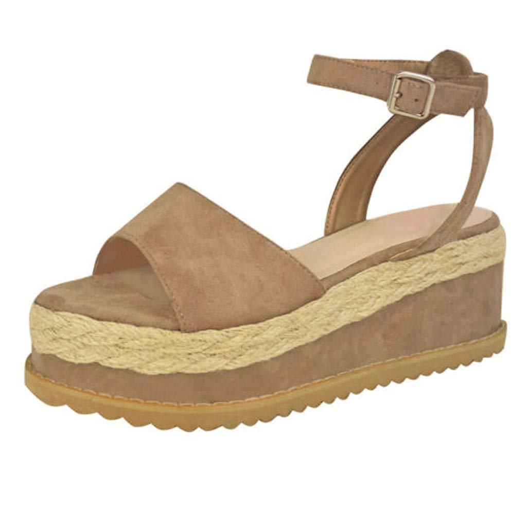 Thenxin Women Solid Belt Buckle Weaving Platform Wedge Sandals Ladies Fish Mouth Shoes (Khaki,6.5 US)
