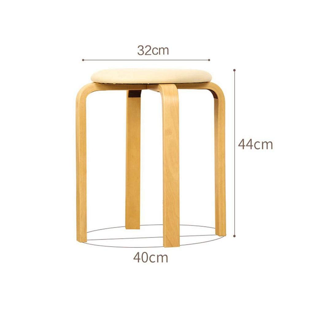 2 YCSD Fashion Small Dining Stool Solid Wood Round Stool Low Bench PU Upholstered,Easy Assembly (color   07)