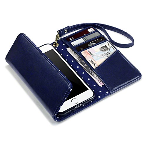 Coque Cuir iPhone 7, Terrapin Étui Housse Portefeuille avec Polka Dot Intérieur pour iPhone 7 Case - Bleu Marine