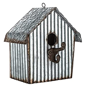 Amazon.com : Galvanized Metal Birdhouse with Embossed Roof : Garden on round art designs, round garden designs, round arbor designs, round angel designs, round clock designs, round butterfly designs, round flowers designs, round mirror designs, round animal designs, round dragon designs, round baby designs, round bell designs, round floral designs, round jewelry designs, round boat designs, round box designs, round barn designs, round house designs,