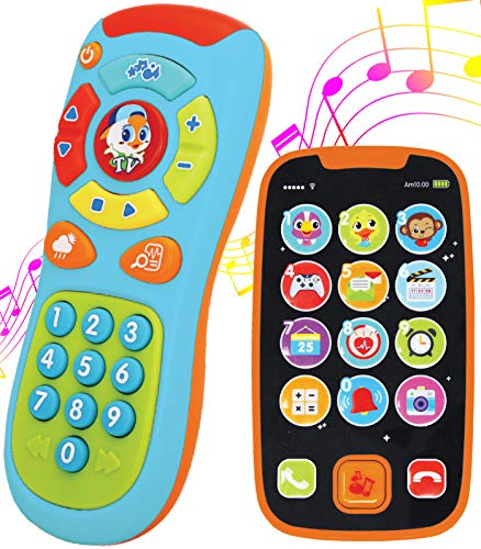 JOYIN My Learning Remote and Phone Bundle with Music, Fun, Smartphone Toys for Baby, Infants, Kids, Boys or Girls Birthday Gifts, Holiday Stocking Stuffers Present (Toy Cell Phone For 1 Year Old)