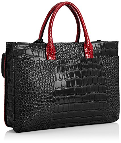 SwankySwans Bedford Patent Leather Business, Borsa per portatile donna Rosso (Nero / rosso)