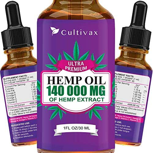 Hemp Oil 7500mg for Pain Relief, Relaxation, Better Sleep, All Natural, Pure Extract, Vegan Friendly