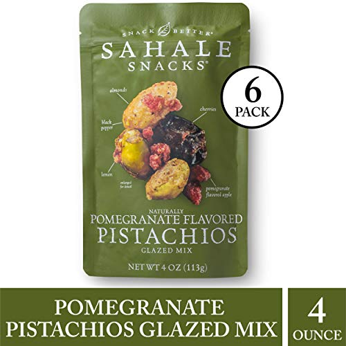 Sahale Snacks Pomegranate Flavored Pistachios Glazed Mix, 4 oz., Pack of 6 - Nut Snacks in a Resealable Pouch, No Artificial Flavors, Preservatives or Colors, Gluten-Free Snacks (Pistachio Cashew)