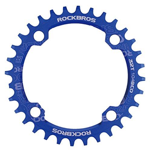 RockBros Round Narrow Wide Chain Ring 104BCD Ultralight Alloy Bike Crank Single Speed (Single Speed Mtb)