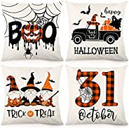 HOLICOLOR Halloween Throw Pillow Covers 18x18 Inch Set of 4 Halloween Decorations Orange and Black Buffalo Pla