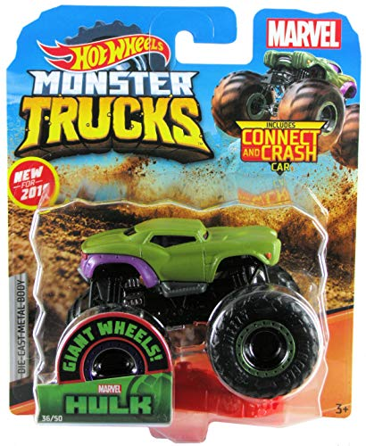 Hot Wheels 2019 Monster Trucks Marvel's Hulk with Connect and Crash Car #36/50 1:64 Scale - Marvel Truck