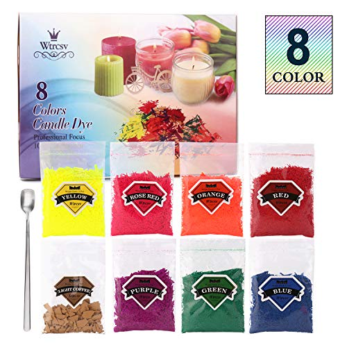 8 Color Candle Wax Dye(10g/0.35oz Each, Total 2.8oz), Wtrcsv Candle Making Supplies Soy Wax Coloring Dye for Candle Molds Candle Wax for Candle Making or ()