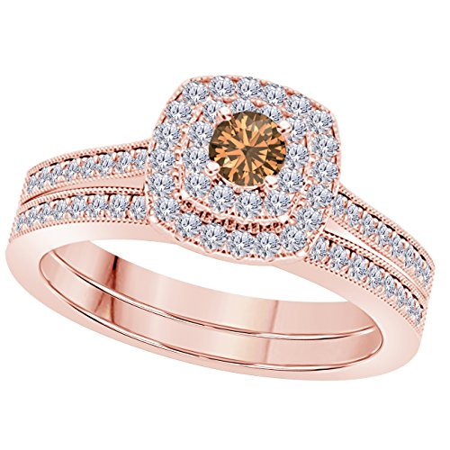 - 2CT Round Cut Brown Cz Diamond & Simulated Diamond 14k Rose Gold Plated Wedding Bridal Set Double Halo Engagement Ring Set Size 4-12