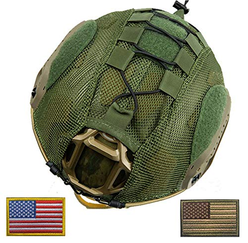 OSdream Only Suitable Fast Type Mesh Tactical Helmet Camouflage Cover (Green, L)