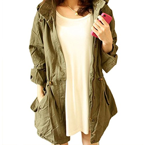 TOOGOO(R) Femmes CHAUD Capuche Armee Cordon Vert Militaire Trench-Coat Parka Cavalier Taille M