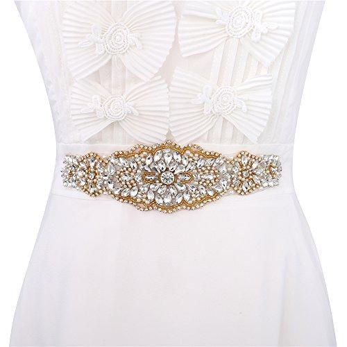Sewn Stone (Wedding Rhinestone Applique, Wedding Sash Bridal Belts, Sash Applique, Belt Applique, Pearls Beaded Embellishments for Women Formal Dresses Sewn or Hot Fix - Gold)