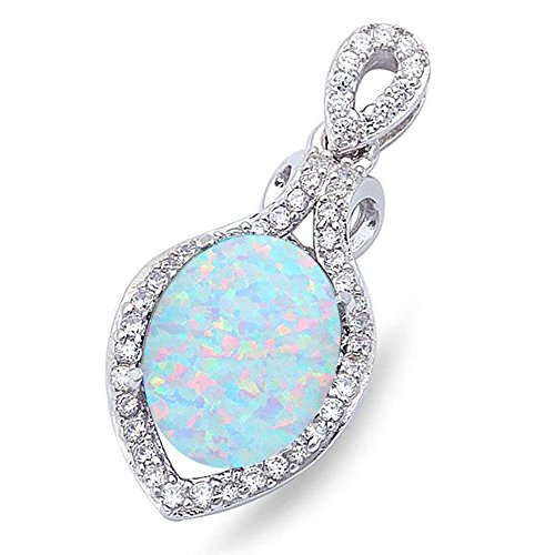 Fire Opal White Pendant - Lab Created White Opal & Cubic Zirconia .925 Sterling Silver Pendant 1