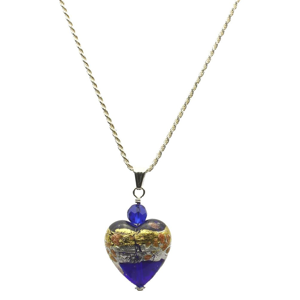 Blue Murano-style Glass Heart Pendant Sterling Silver Diamond-Cut Rope Chain Necklace