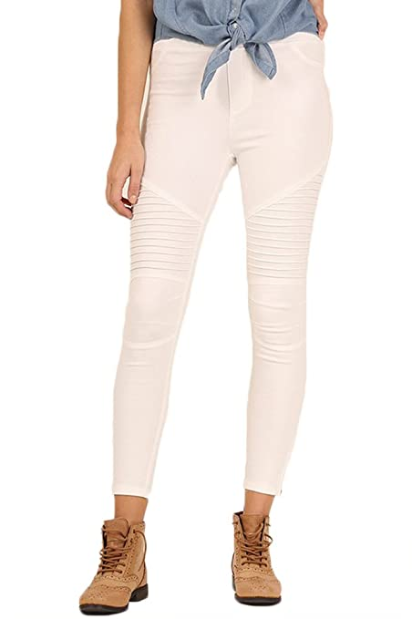 5b0f1ebe0ce206 Umgee USA Women s Moto Zipper Jeggings Off-White (Small) at Amazon Women s  Clothing store
