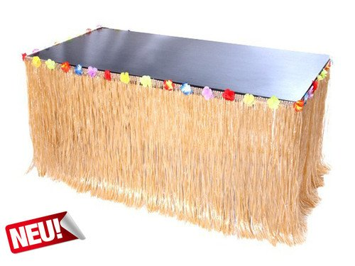Hawaii Basttisch Umrandung / Skirting / Tischrock Party Deko