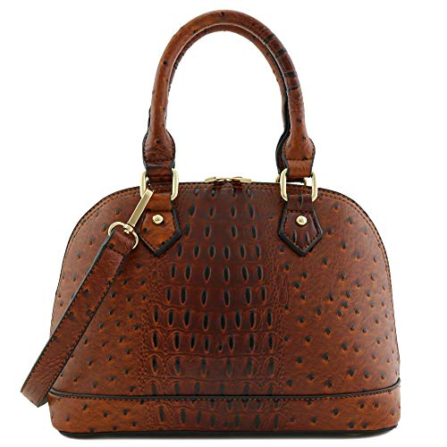 Zip-Around Classic Dome Satchel (Ostrich Brown)