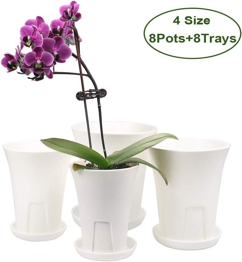 MUZHI Breathable Plastic Orchid Pot, Deep Succulent Violet Plant Pot Collection of 4size 8 Pots 8Trays White