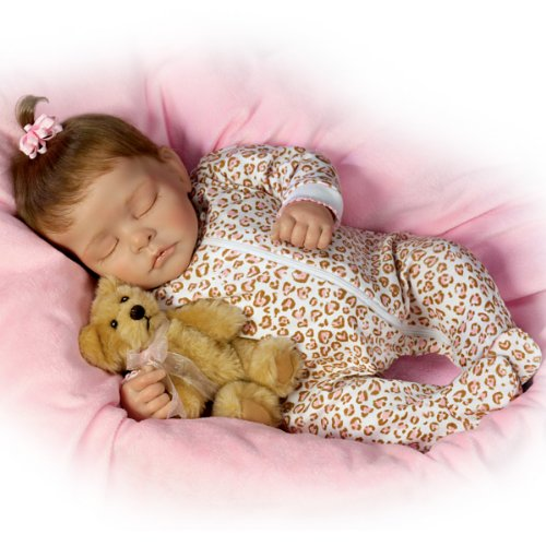"Sweet Dreams Ellie Lifelike Doll With Plush Teddy-Bear - 16"" by Ashton Drake from The Ashton-Drake Galleries"